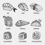 Croquis graphique de différents genres de sushi Image stock