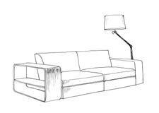 Croquis graphique de sofa moderne illustration de vecteur