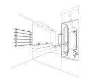 Perspective d 39 int rieur de salle de bains de croquis salle for Croquis salle de bain