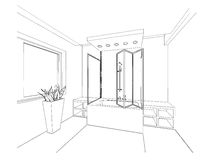Croquis graphique une salle de bains photographie stock for Croquis salle de bain