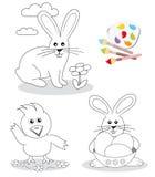 Croquis heureux de livre de coloration de Pâques Images libres de droits