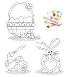 Croquis heureux de livre de coloration de Pâques Image libre de droits