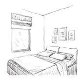 Croquis intérieur moderne de chambre à coucher illustration libre de droits