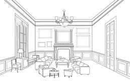 Croquis intérieur densemble Modèle de meubles Photos libres de droits