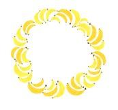 Croquis jaune lumineux de main d'aquarelle de cercle de banane Image libre de droits
