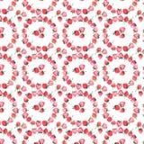 Croquis juteux de main d'aquarelle de modèle de cercle de fraise Image stock