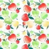 Croquis juteux lumineux de main d'aquarelle de modèle de pommes Images stock