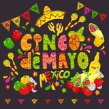 Croquis mexicain de nourriture, Cinco de Mayo Celebration Banner, illustration de fête ou insecte illustration stock