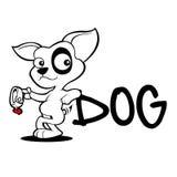 Croquis mignon d'adoption de bande dessinée de chien Images libres de droits