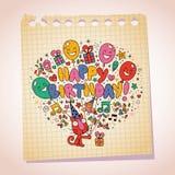Croquis mignon de bande dessinée de papier de note de chaton de joyeux anniversaire Images stock
