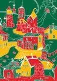 Croquis mignon de vecteur des maisons et des églises de Vilnus illustration stock