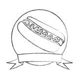 croquis monochrome de cadre circulaire avec le ruban et de hot-dog avec de la sauce Images stock