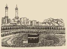Croquis musulman saint de personnes de Kaaba Mecca Saudi Arabia illustration libre de droits
