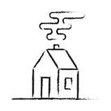 Croquis noir de maison de crayon Photographie stock libre de droits