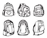 Croquis noir et blanc de sac d'école sur le fond blanc Image libre de droits