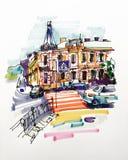 Croquis original de marqueur d'aspiration de main de paysage de bâtiment de Kyiv illustration libre de droits