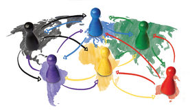 Croquis ou concept tiré par la main pour la mondialisation, la mise en réseau globale, le voyage ou la connexion ou le transport  Image libre de droits