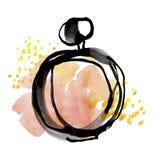 Croquis pâle de bouteille de parfum de couleur illustration libre de droits