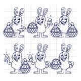Croquis Pâques Bunny Holding Egg et caractères réglés de panier Photos libres de droits