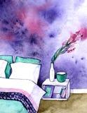 Croquis peint à la main d'aquarelle d'intérieur de chambre à coucher Photo stock