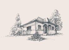 Croquis rustique de maison illustration libre de droits