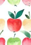 Croquis sans couture d'aquarelle de modèle de quatre pommes lumineuses Photos stock