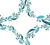 Croquis sans couture de main d'aquarelle de beau d'herbe verte modèle de cercle Photographie stock