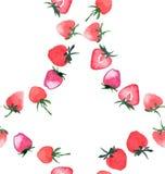 Croquis sans couture de main d'aquarelle de modèle de beau cercle de fraise Images stock