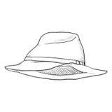 Croquis simple Trilby Hat de vecteur Image libre de droits