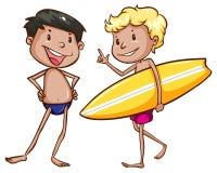 Croquis simples des hommes allant à la plage Images stock