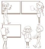 Croquis simples des professeurs dans la salle de classe Photographie stock libre de droits