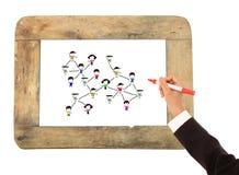 Croquis social de gens de réseau sur un Whiteboard Photographie stock