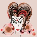 Croquis stylisé de fille avec le cheveu rouge Images libres de droits