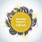 Croquis tiré par la main d'Autumn Harvest Festival Background La nourriture de ferme et de jardin dirigent le jour de thanksgivin Illustration Libre de Droits