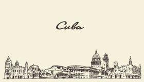 Croquis tiré par la main d'illustration de vecteur d'horizon du Cuba illustration libre de droits