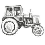 Croquis tiré par la main d'illustration de vecteur de tracteur de ferme
