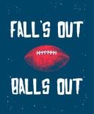 Croquis tiré par la main de boule de football américain avec la typographie moderne sur le fond bleu Dessin détaillé de style gra illustration stock