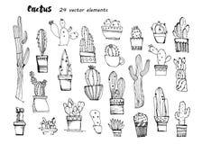 Croquis tiré par la main de cactus Collection de cactus coloré différent illustration de vecteur