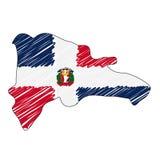 Croquis tiré par la main de carte de la République Dominicaine  Drapeau d'illustration de concept de vecteur, le dessin des enfan illustration de vecteur