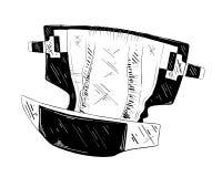 Croquis tiré par la main de la couche-culotte de bébé dans le noir d'isolement sur le fond blanc Dessin détaillé de style gravure illustration libre de droits