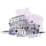 Croquis tiré par la main de griffonnage du Colosseum, Rome illustration de vecteur