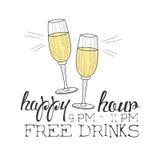 Croquis tiré par la main de hippie de calibre de conception de signe de promotion d'heure heureuse de barre avec Champagne Glasse Images libres de droits