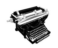Croquis tiré par la main de la machine à écrire de cru dans le noir d'isolement sur le fond blanc Dessin détaillé de style gravur illustration libre de droits