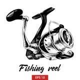 Croquis tiré par la main de pêcher la bobine dans le noir d'isolement sur le fond blanc Dessin détaillé de style gravure à l'eau- illustration libre de droits