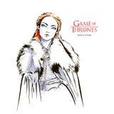 Croquis tiré par la main de Sansa rigide, jeu des trônes illustration stock