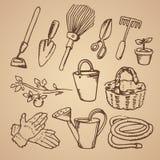 Croquis tiré par la main de vecteur d'illustration de jardinage sur le fond brun illustration stock