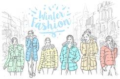 Croquis tiré par la main de vecteur d'illustration de vestes d'hiver sur le fond blanc illustration libre de droits