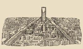 Croquis tiré par la main de vecteur gravé par horizon de Riyadh illustration libre de droits
