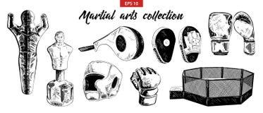 Croquis tiré par la main des arts martiaux mélangés et de l'ensemble de boxe d'isolement sur le fond blanc Dessin détaillé gravur illustration libre de droits