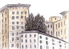Croquis tiré par la main du bâtiment Technique d'aquarelle et de charbon de bois Illustration des Chambres dans la vieille ville